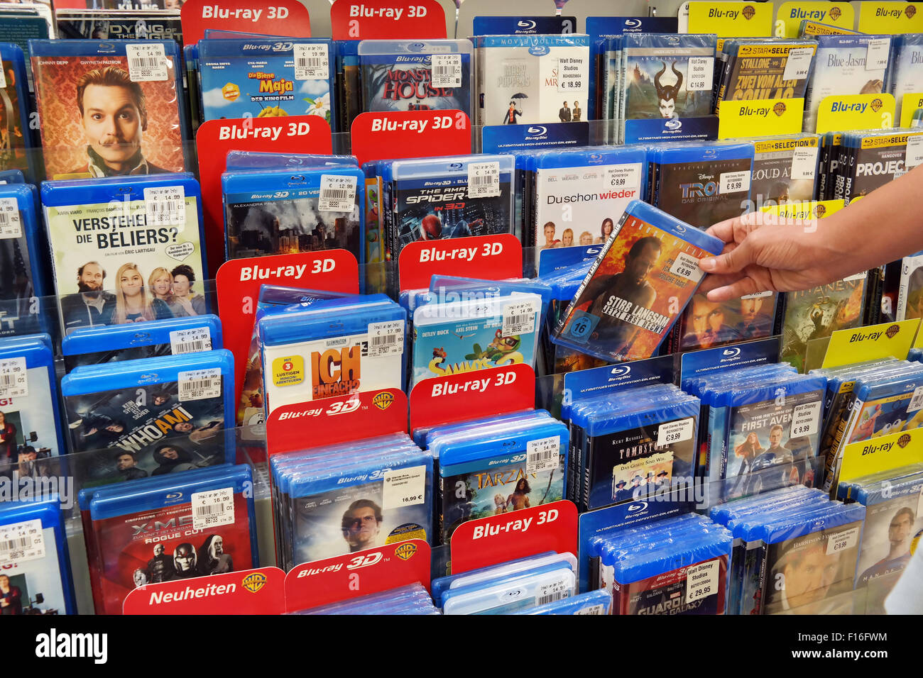 Blu-ray Discs and DVDs Stock Photo