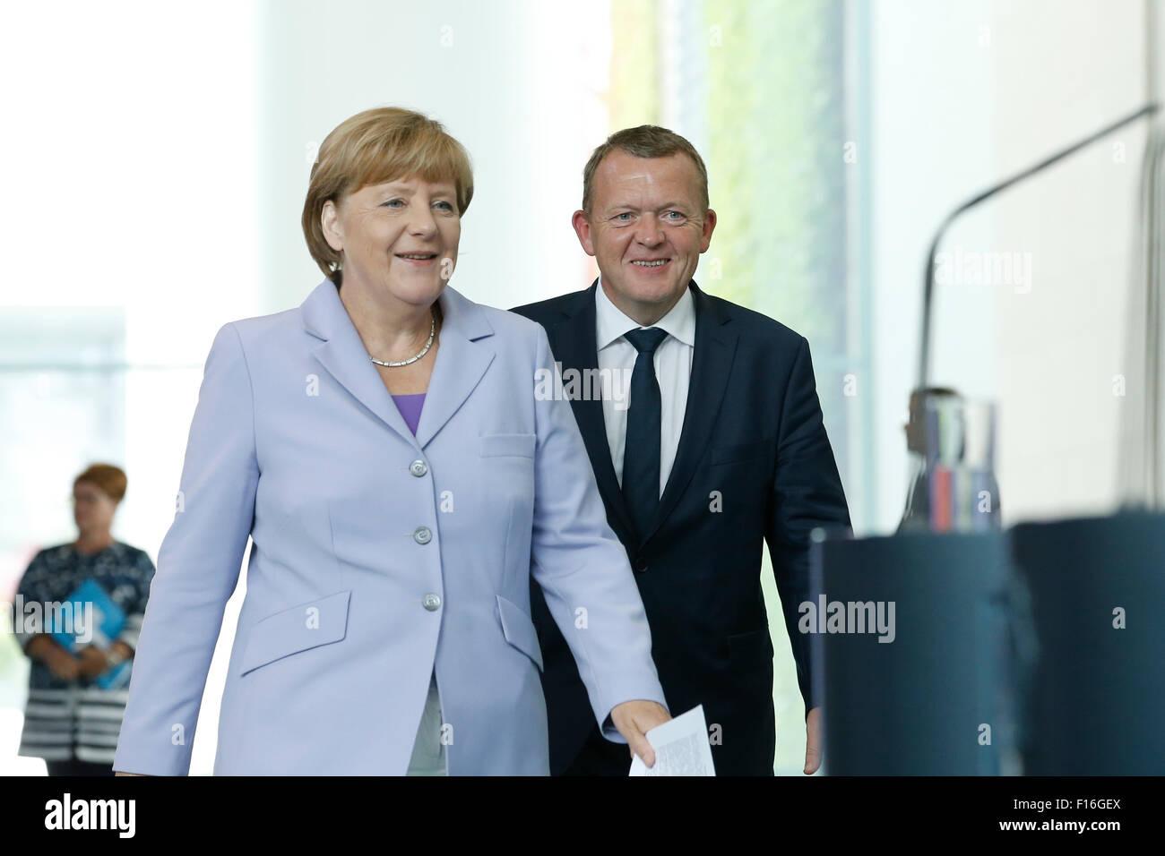 Berlin, Germany. 28th August, 2015. German Chancellor Angela Merkel and Lars Løkke Rasmussen, Prime Minister of Stock Photo