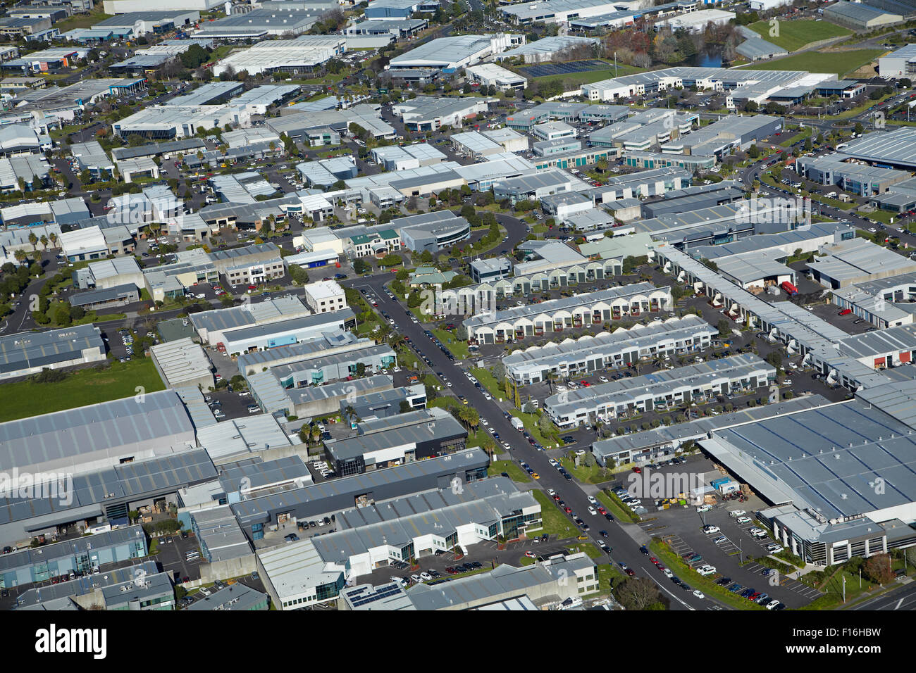 Industrial area, Airborne Road, Rosedale, Auckland, North Island, New Zealand - aerial - Stock Image