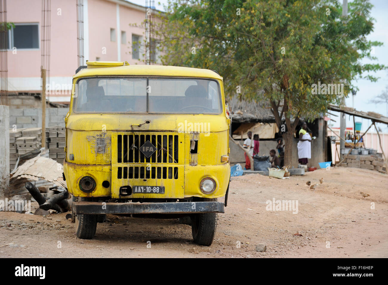 ANGOLA road to Calulo, old east german truck IFA W50 which was from GDR German Democratic Republic supplied as development - Stock Image