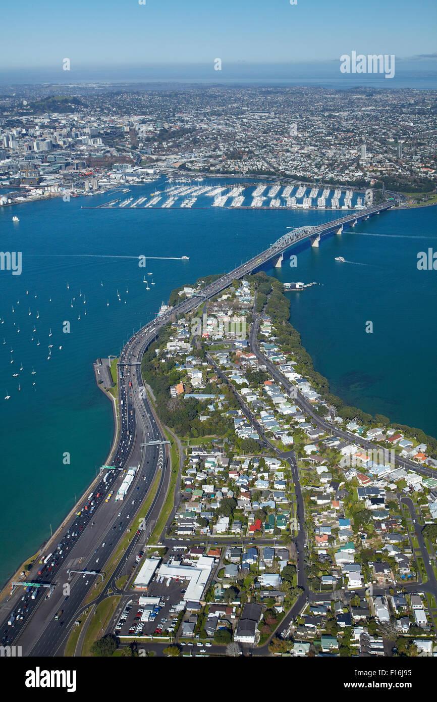 Northcote Point, Auckland Harbour Bridge approach, and Waitemata Harbour, Auckland, North Island, New Zealand - - Stock Image