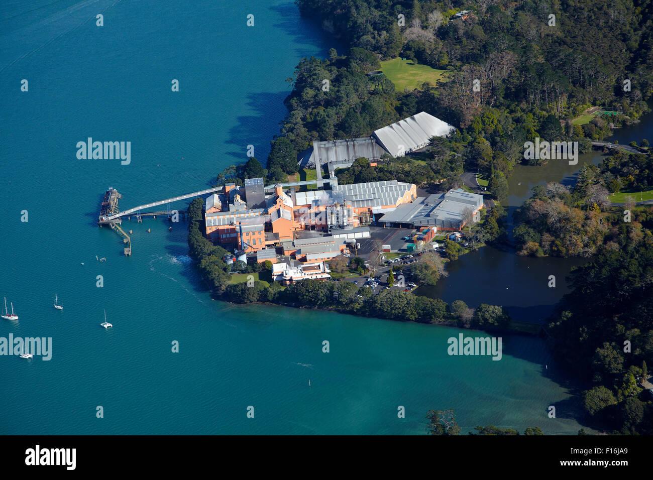 Chelsea Sugar Refinery, Birkenhead, Auckland, North Island, New Zealand - aerial - Stock Image