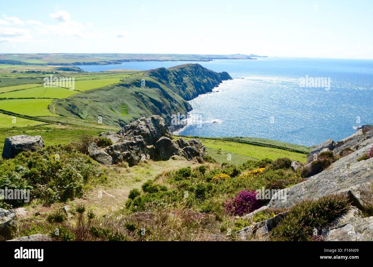 Pwllderi Bay, as seen from y Garn Fawr - Pembrokeshire Coast - Stock Image