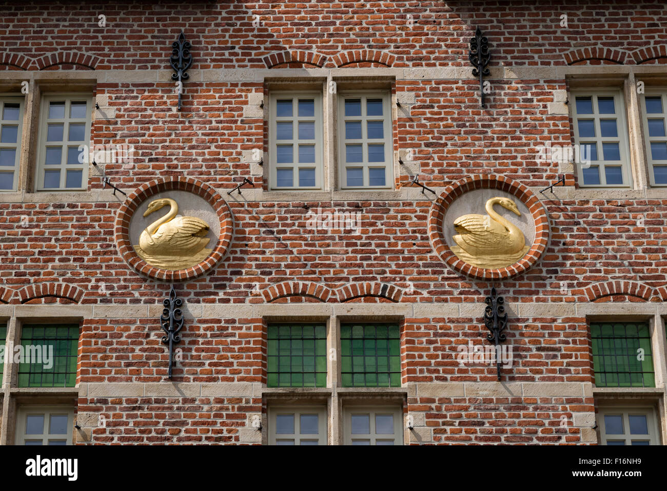 Medieval facade with swans in the city center of Ghend, Belgium - Stock Image