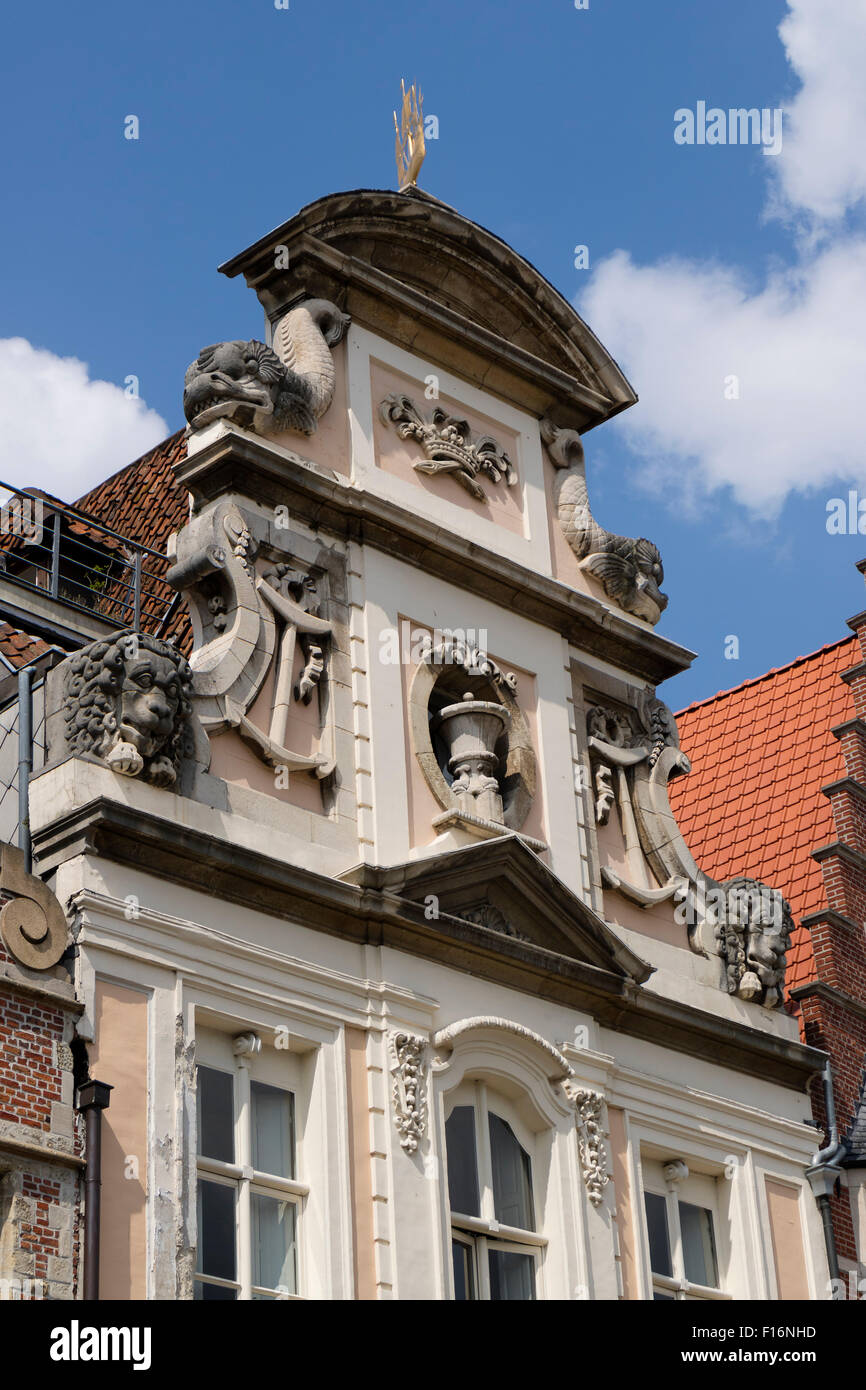 Medieval facade in the city center of Ghend, Belgium - Stock Image