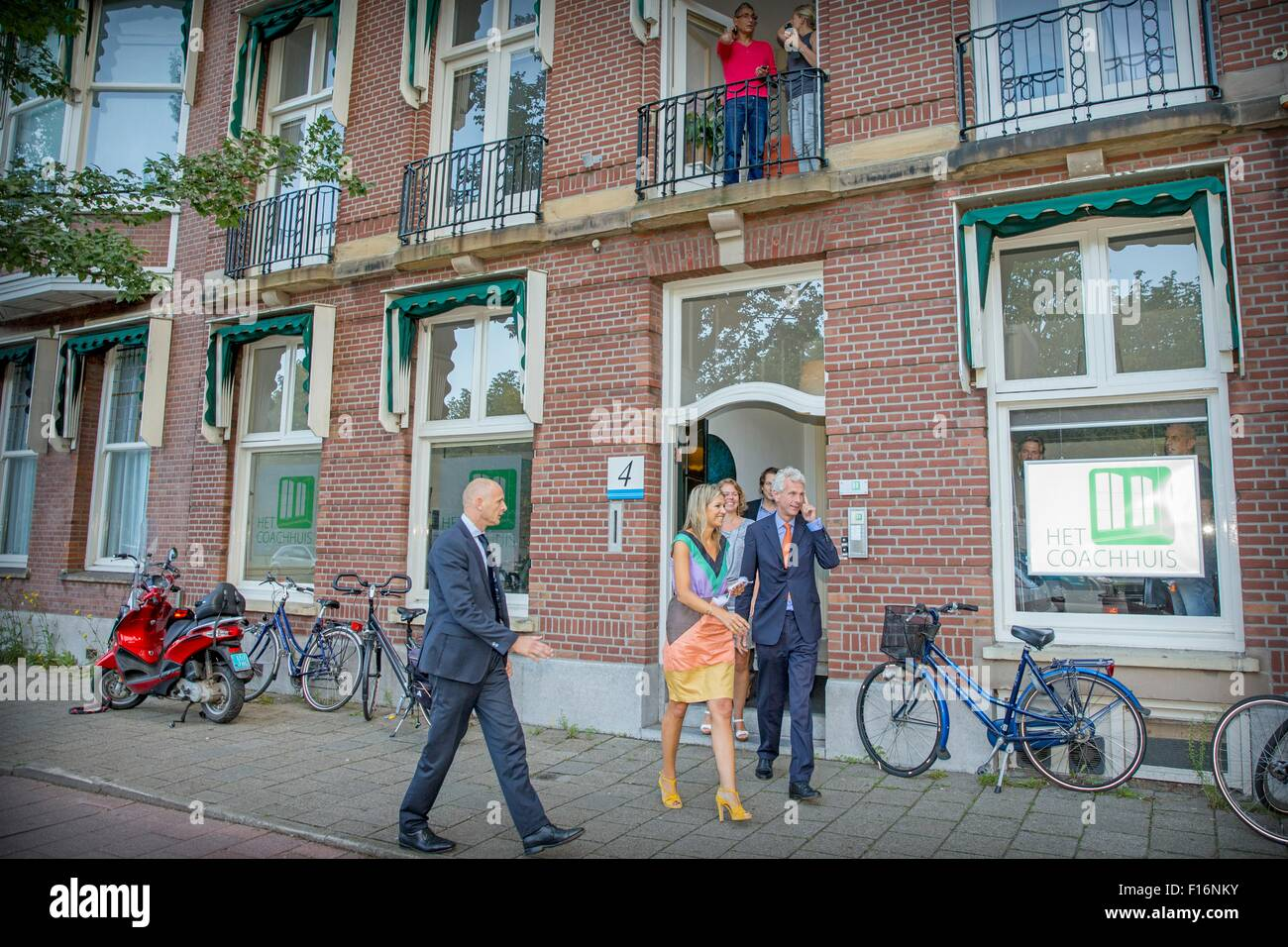 Queen Maxima of The Netherlands visits Oranje Fonds project Talentcoach in The Hague, The Netherlands, 28 August Stock Photo