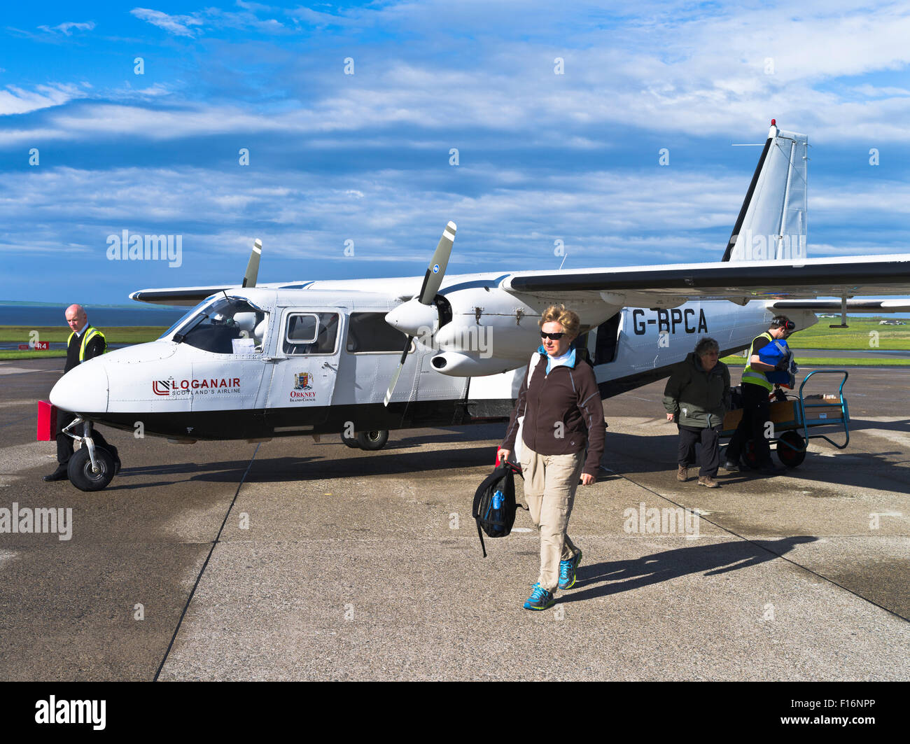 dh Kirkwall airport KIRKWALL ORKNEY passenger loganair britten-norman bn2b-26 islander small airplane tourist - Stock Image
