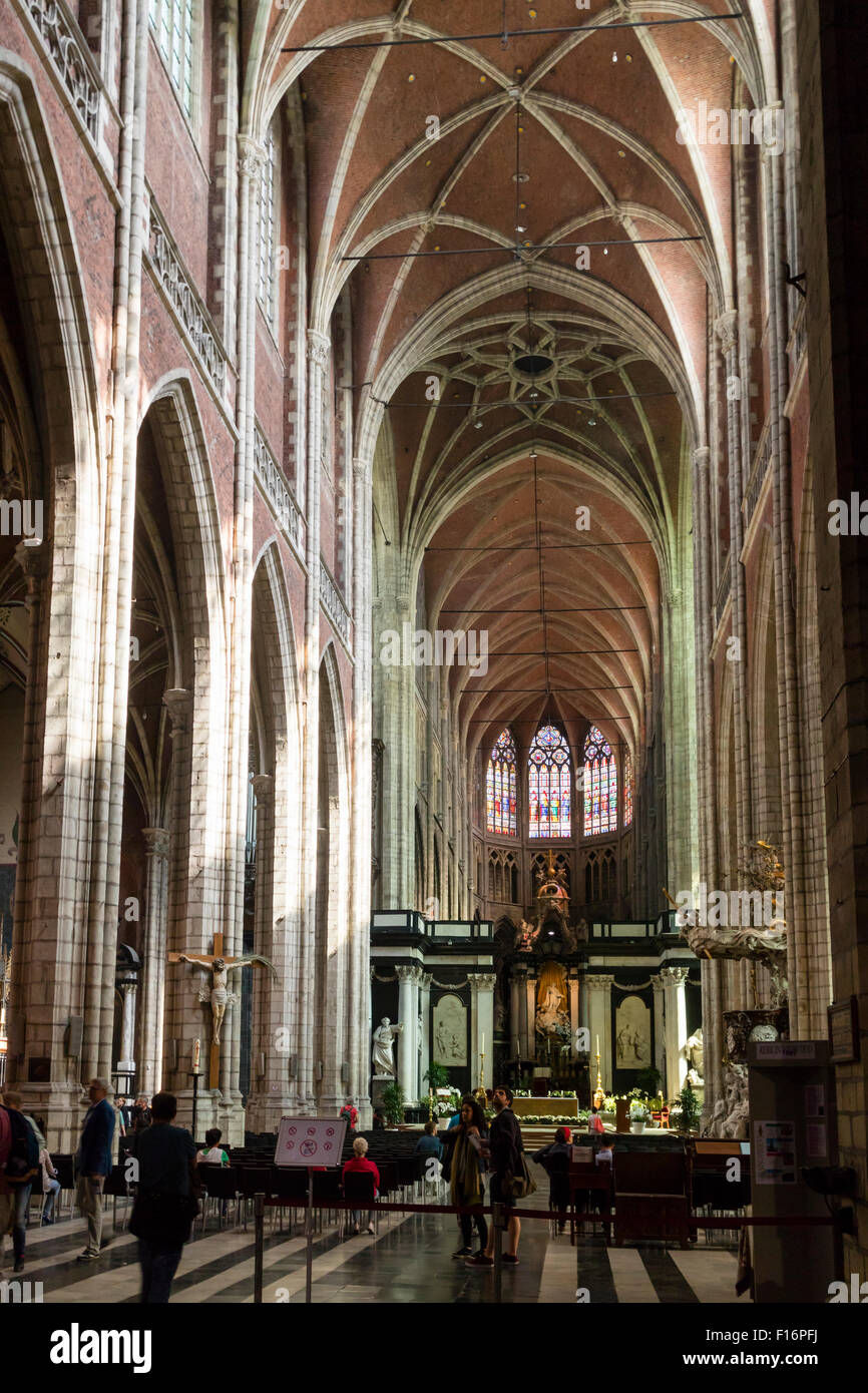 Interior of St Bavo's Cathedral in Ghent, Belgium - Stock Image