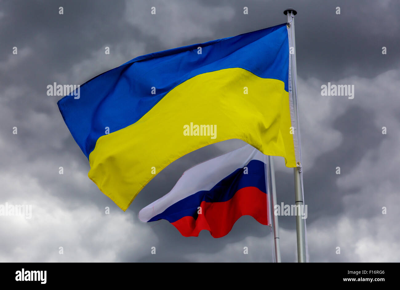 Berlin, Germany, flag of the Russian Federation and Ukraine - Stock Image