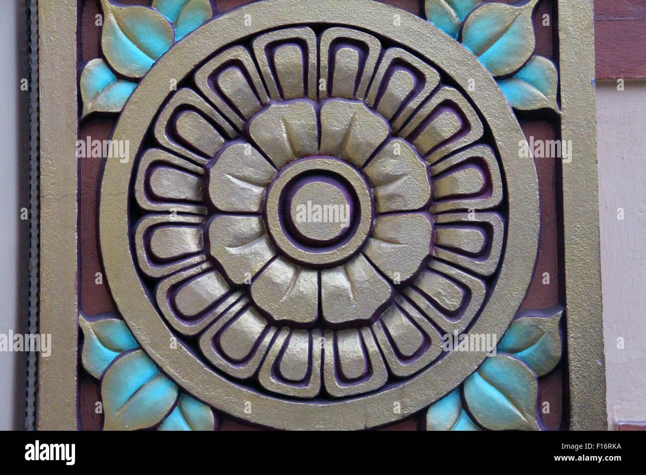 Buddhist Lotus Mandala On Temple Door