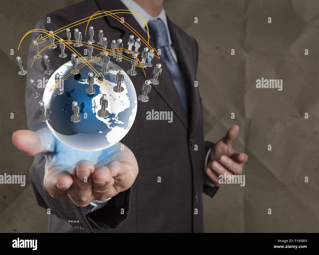 businessman  show social network structure with crumpled recycle paper background as concept Stock Photo