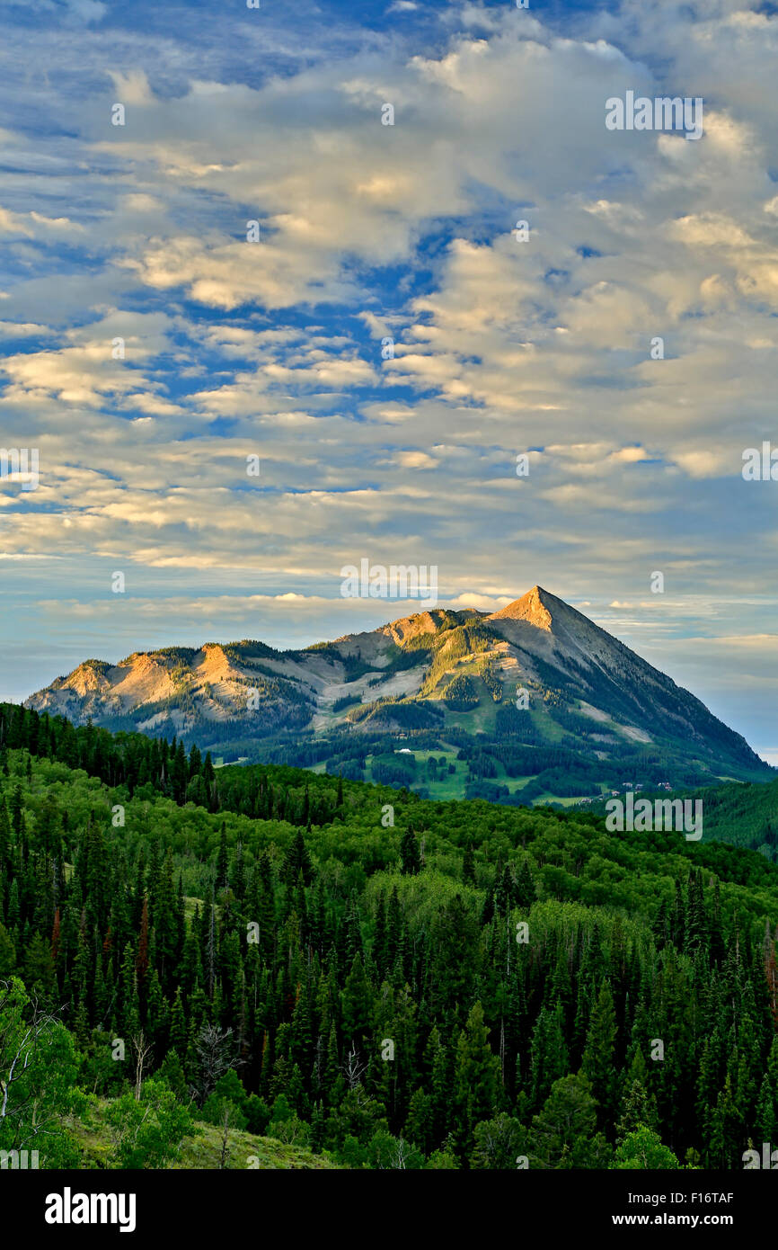 Gunnison National Forest and Mt. Crested Butte (12,162 ft.), near Crested Butte, Colorado USA - Stock Image
