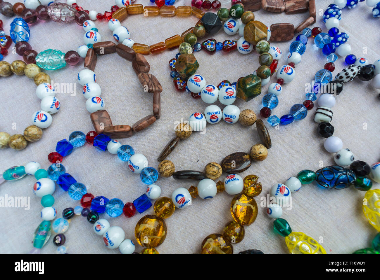 New York City, USA, Detail Hand Made jewelry with Obama on Beads at Chelsea  Flea Market, Summer - Stock Image