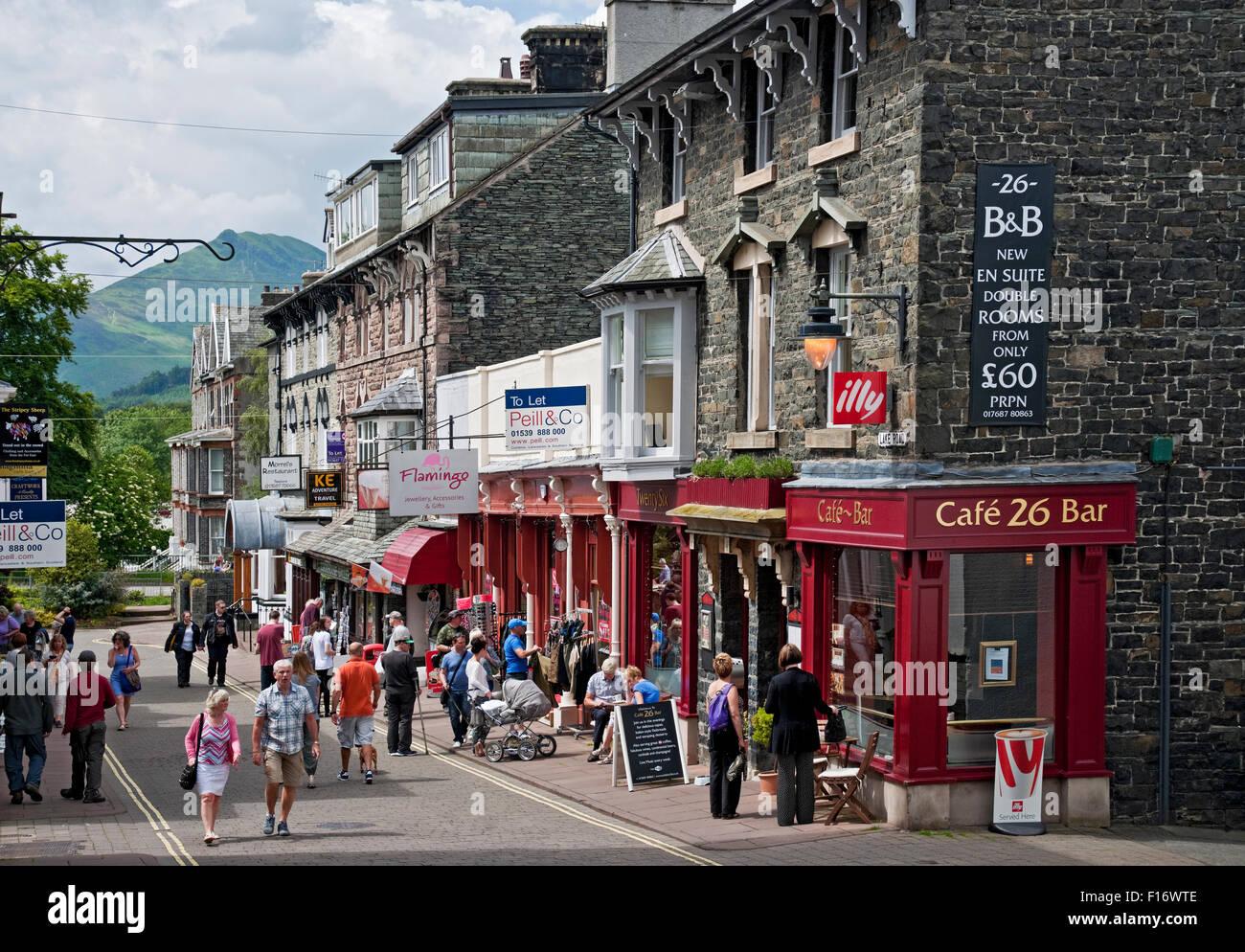 Shops along Lake Road Keswick Cumbria England UK United Kingdom GB Great Britain - Stock Image