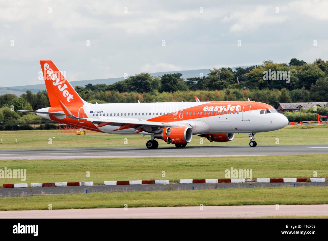 EasyJet Airbus A320-214 landed at Manchester Airport (UK) - Stock Image