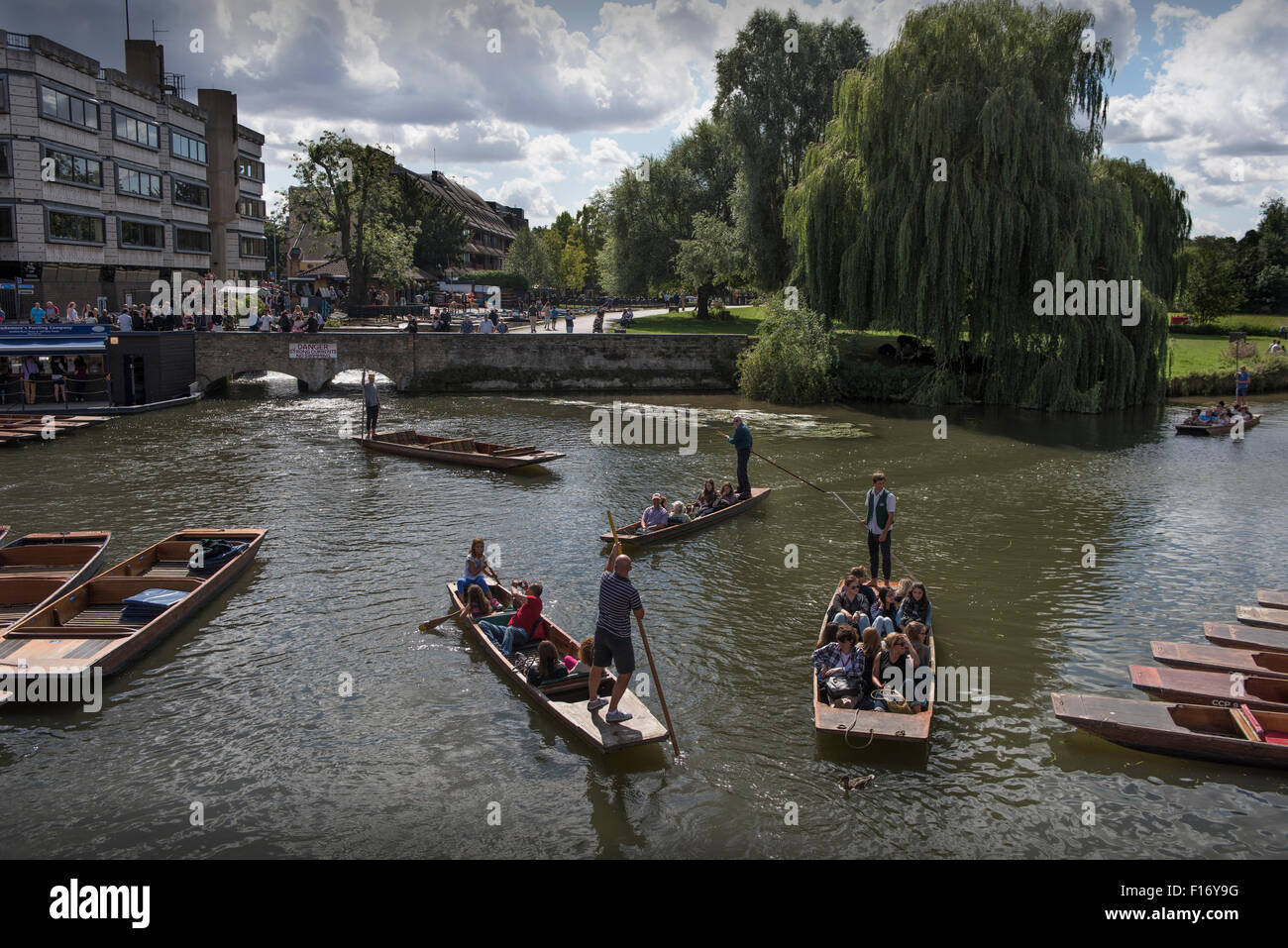 Cambridge, Cambridgeshire, England,UK. Punting on the River Cam. 28 August 2015 Punting at Silver Street on the - Stock Image