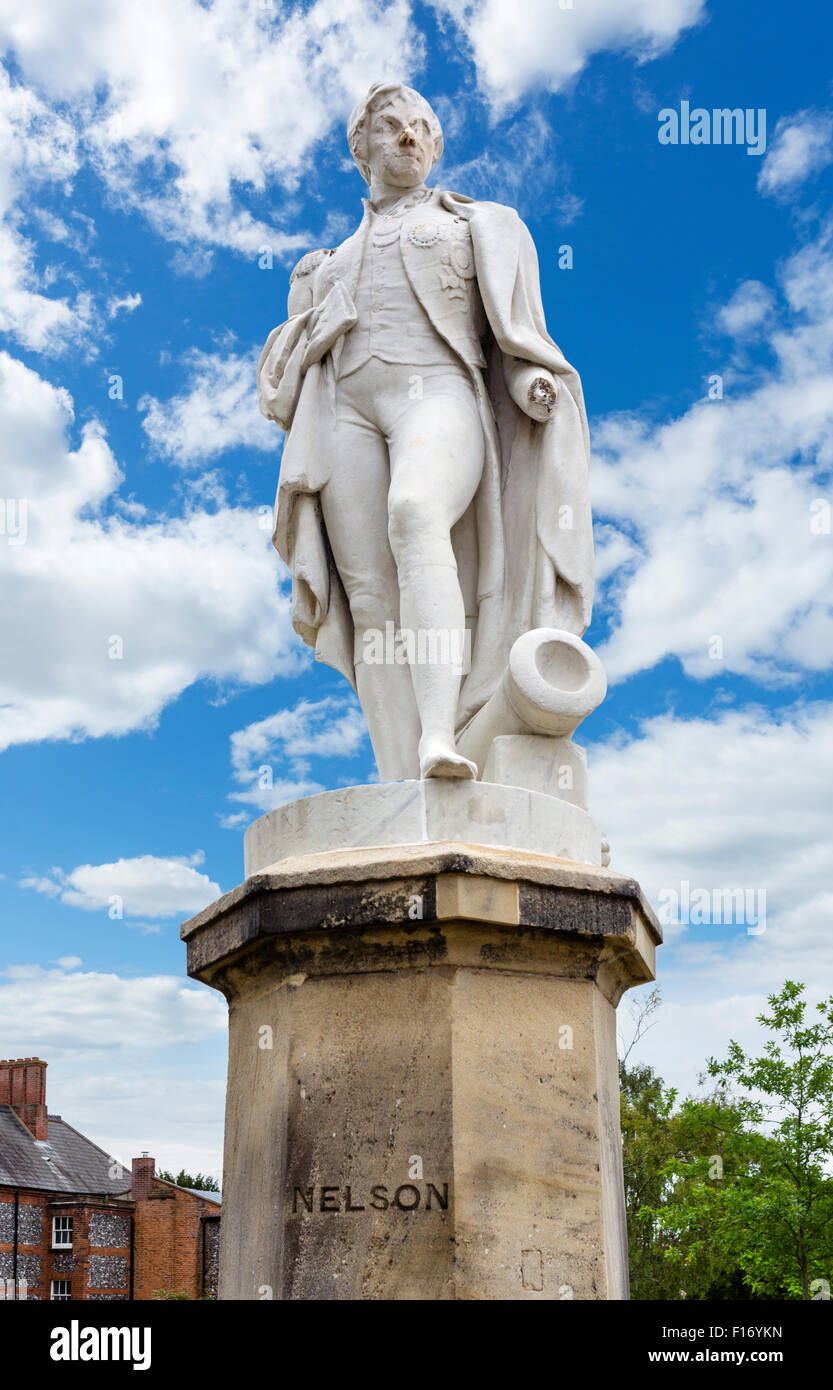 Statue of Admiral Lord Nelson in Cathedral Close, Norwich, Norfolk, England, UK - Stock Image
