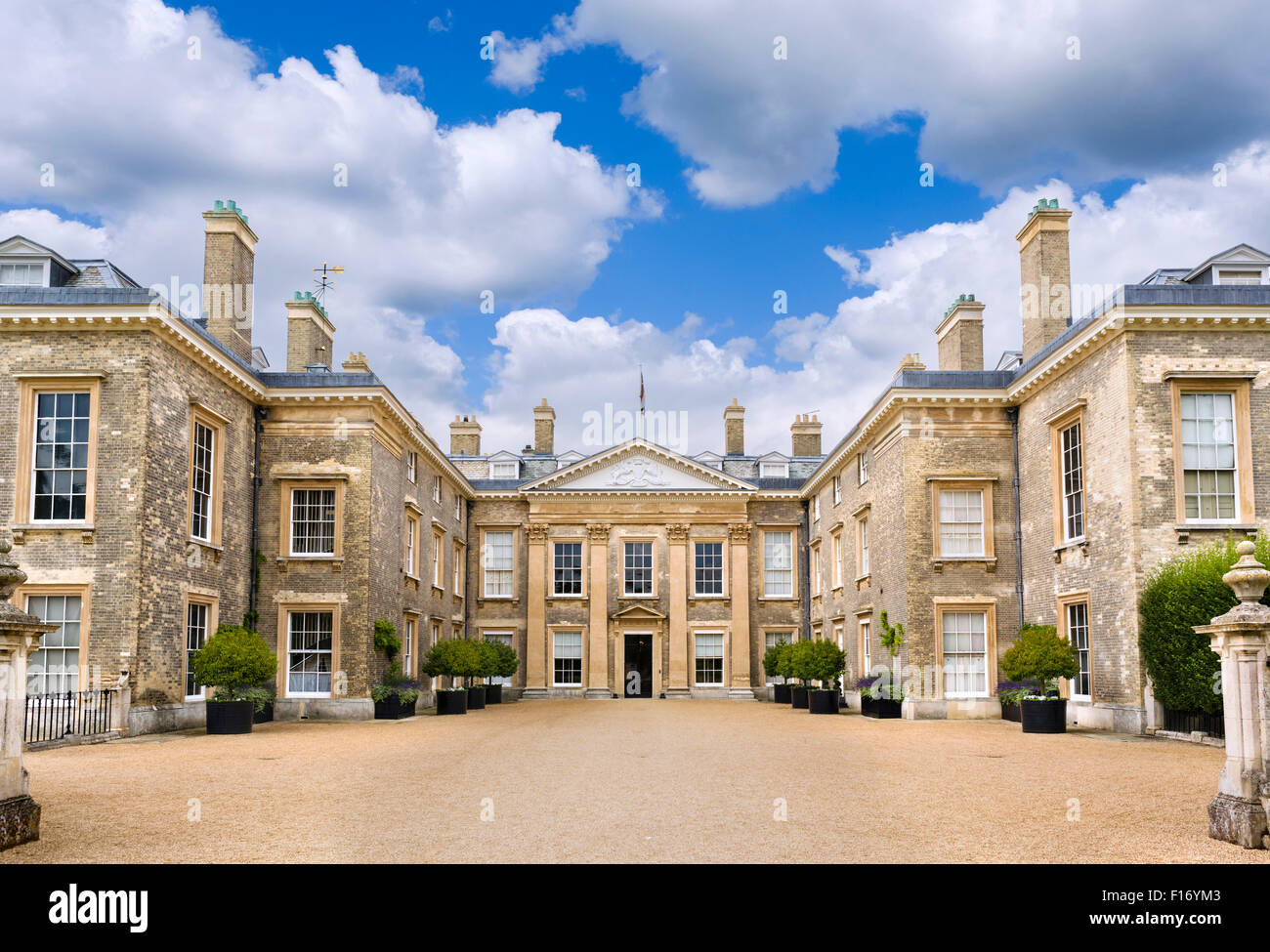 The front of Althorp house, seat of Earl Spencer and childhood home of Princess Diana, Northamptonshire, England, - Stock Image