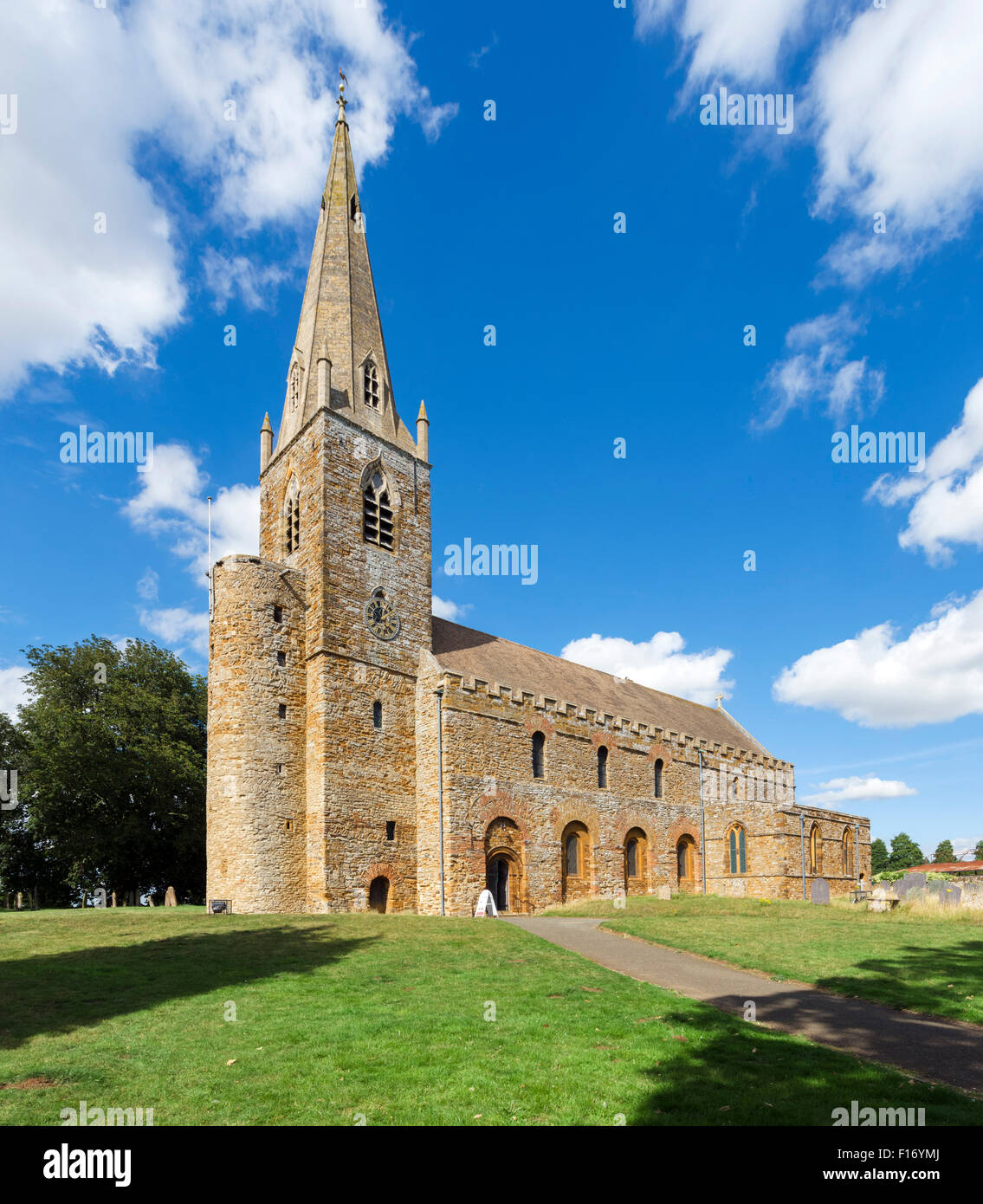 All Saints Church, one of the oldest Anglo-Saxon churches in the country dating from around 690AD, Brixworth, Northants, - Stock Image