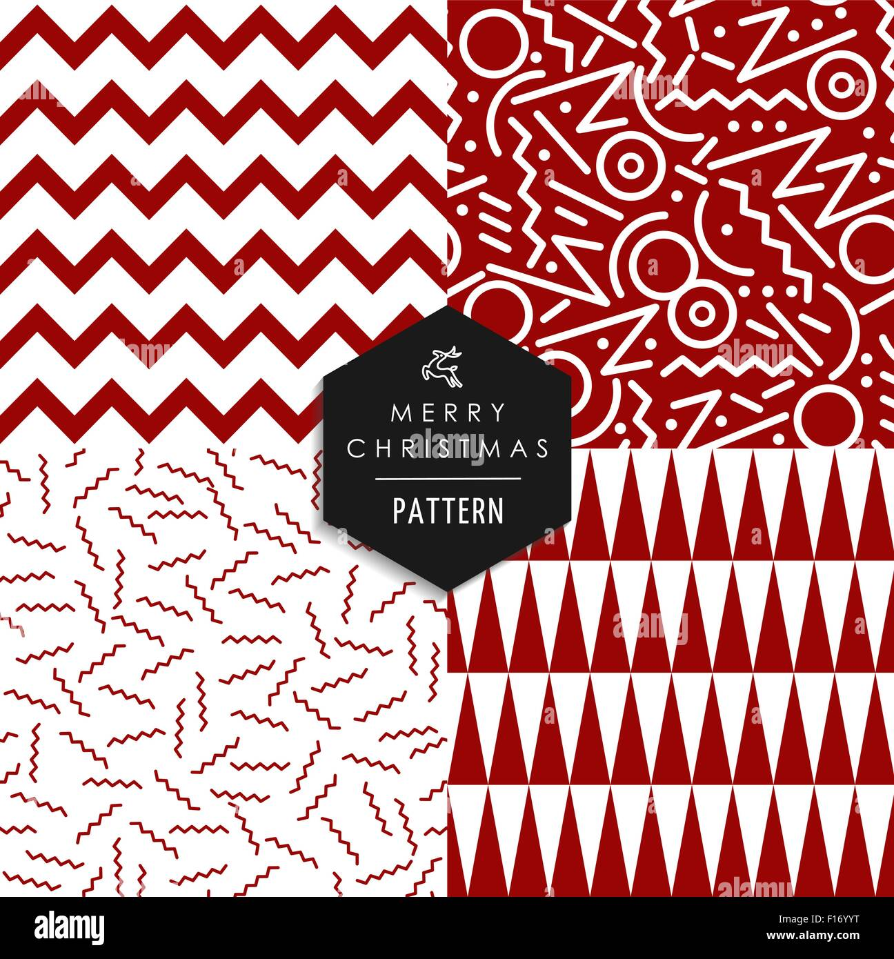Merry Christmas Retro 80s Style Seamless Pattern Set Holiday Hipster Red And White Shapes Xmas Background EPS10 Vector File
