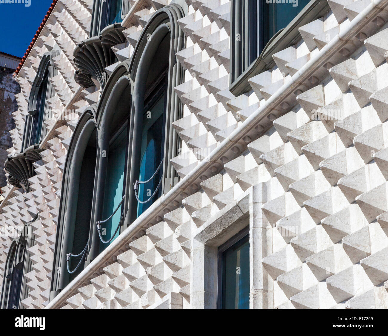 Facade of Casa dos Bicos (House of the Spikes) in the Alfama neighborhood of Lisbon Portugal - Stock Image
