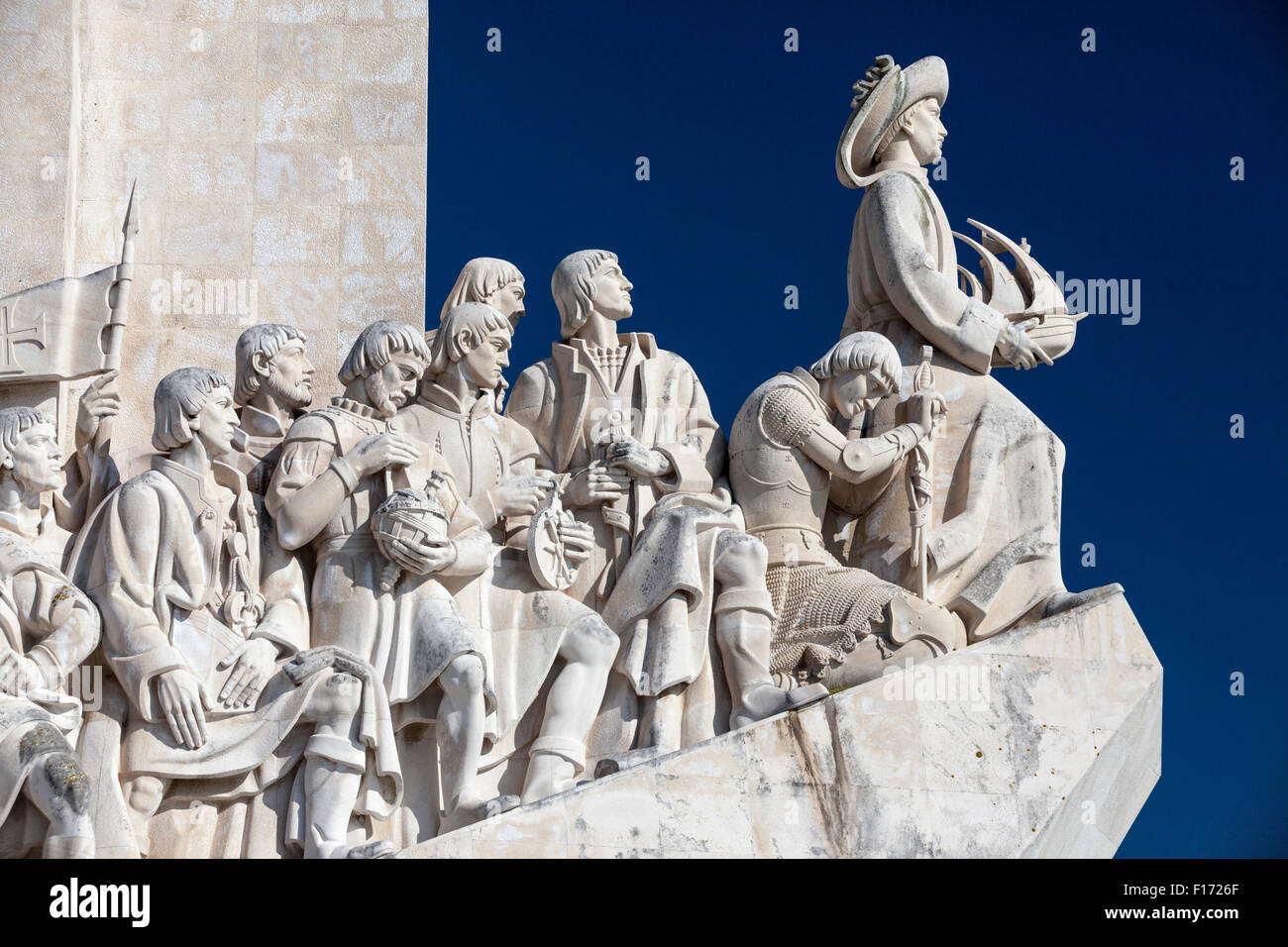Detail of Monument to the Discoveries along the Tagus river in the Belem section of Lisbon, Portugal. Stock Photo