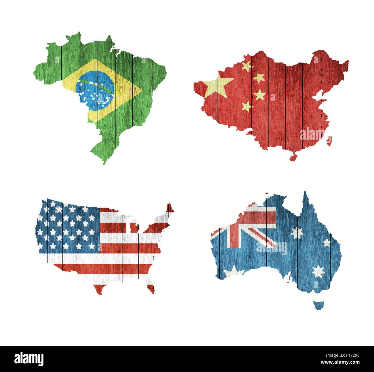 Map Of Australia And Usa.Set Of Maps With Wooden Flags Usa Brazil Australia And China On A