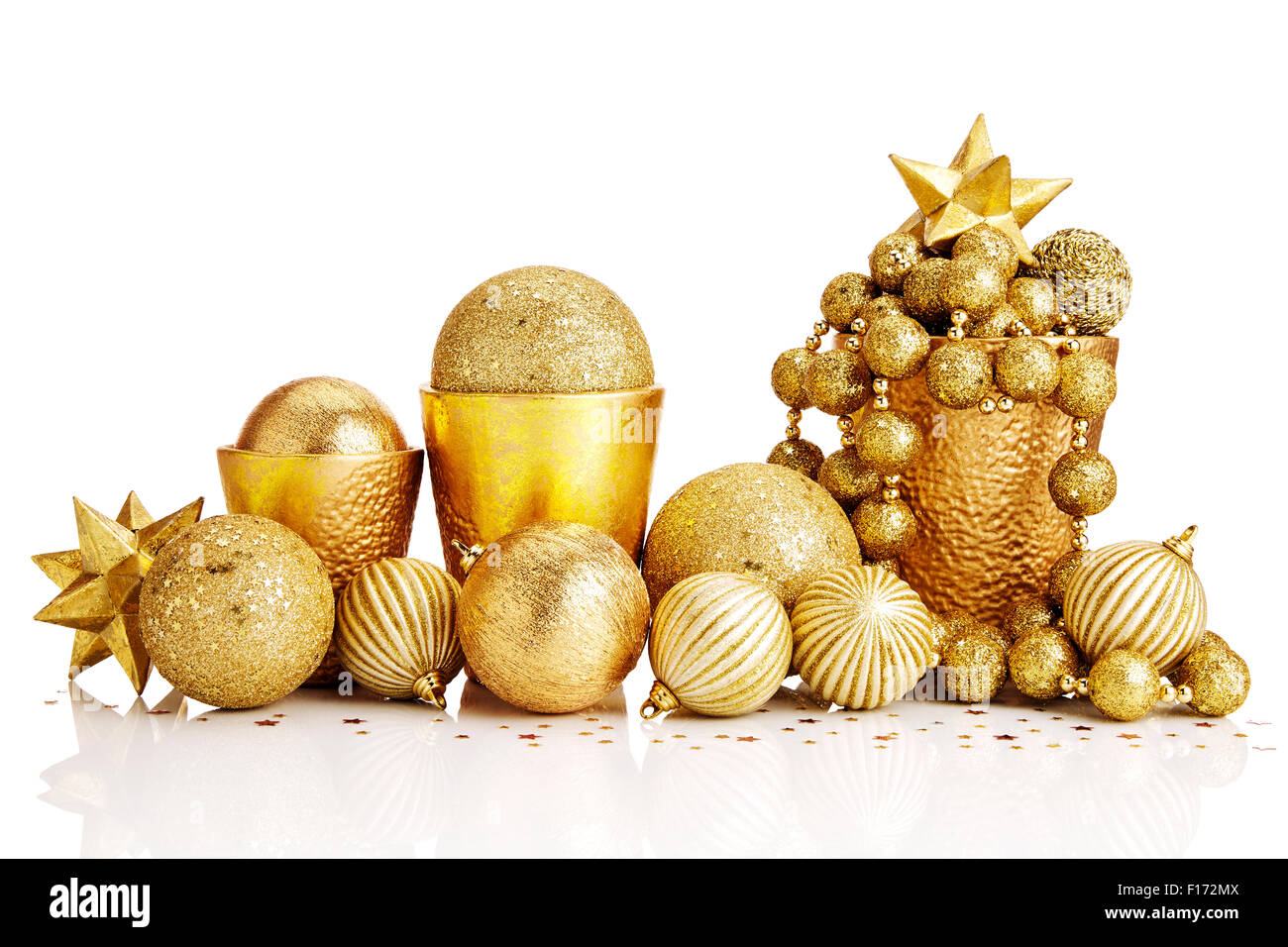 composition of gold christmas decorations on white background stock image - Gold Christmas Decorations
