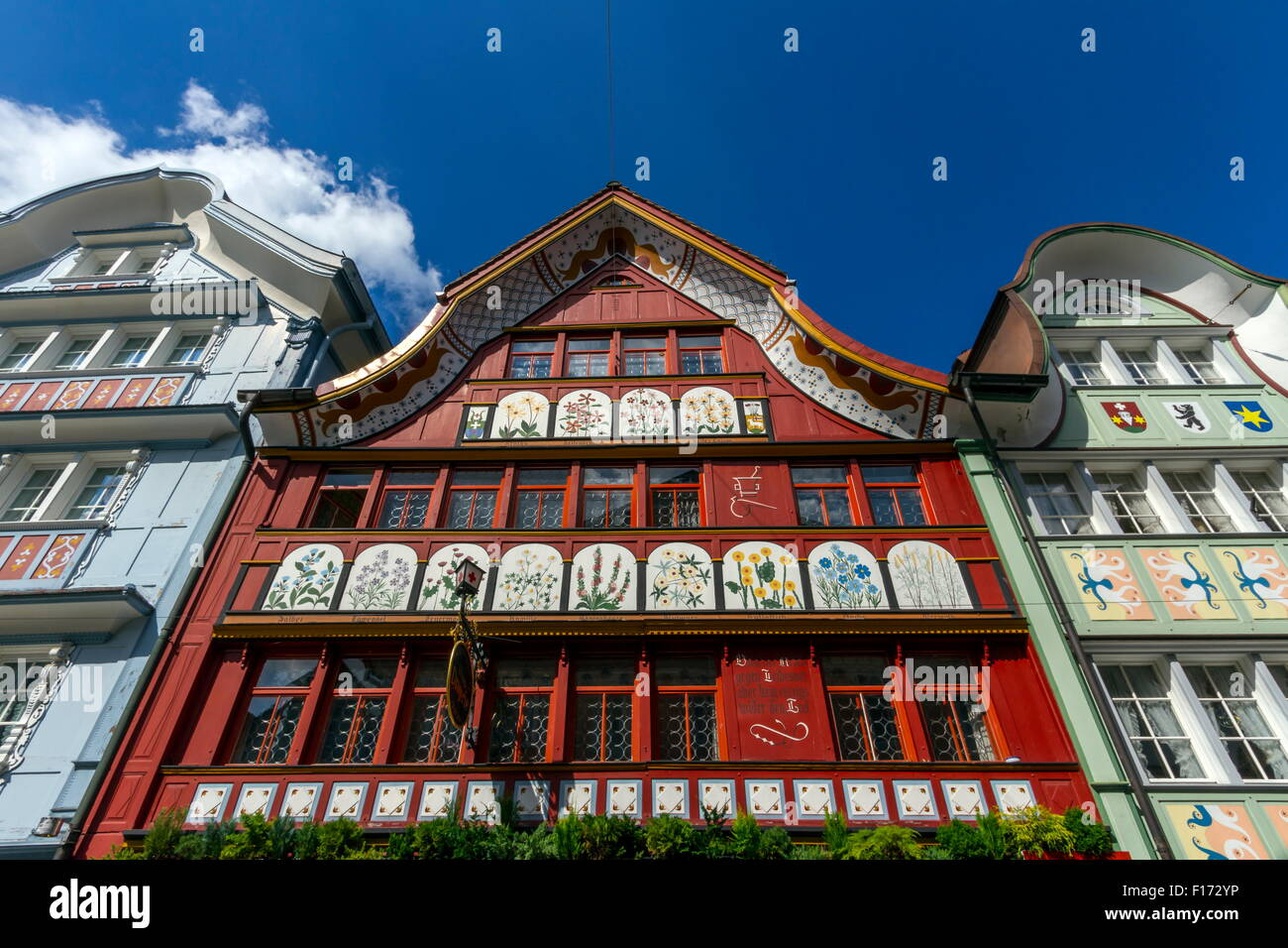Famous typical houses in Appenzell village by beautoful day, Switzerland - Stock Image