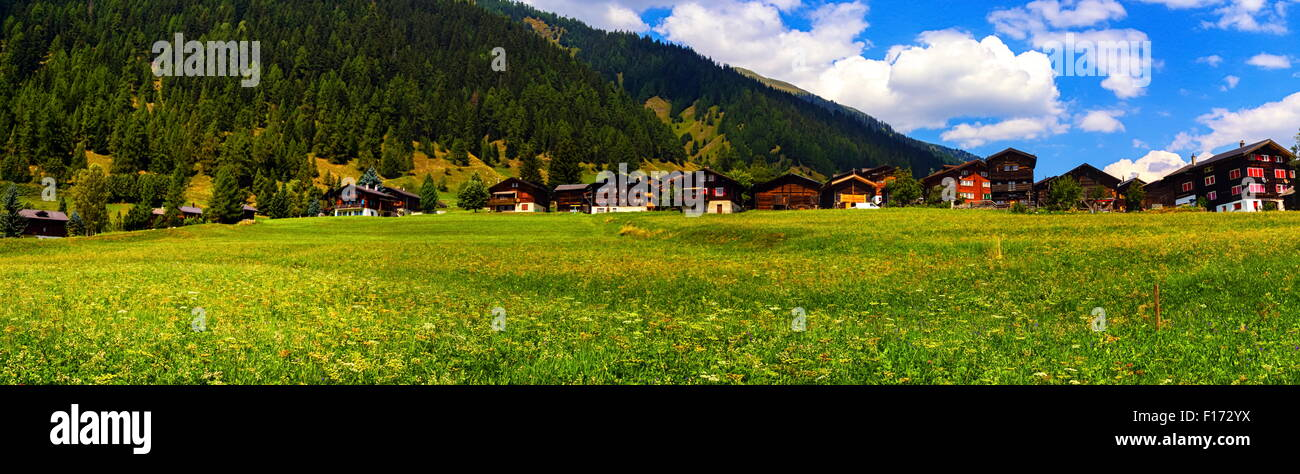 Biel chalets by beautiful summer day, Berne canton, Switzerland - Stock Image