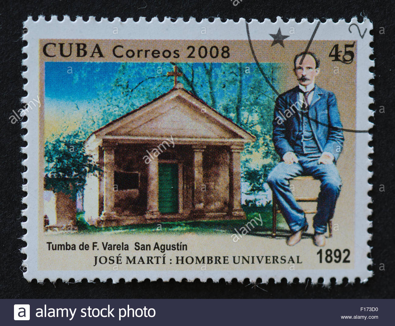 Cuba history stamp: the collectible item depicts Jose Marti and the tomb of Felix Varela - Stock Image
