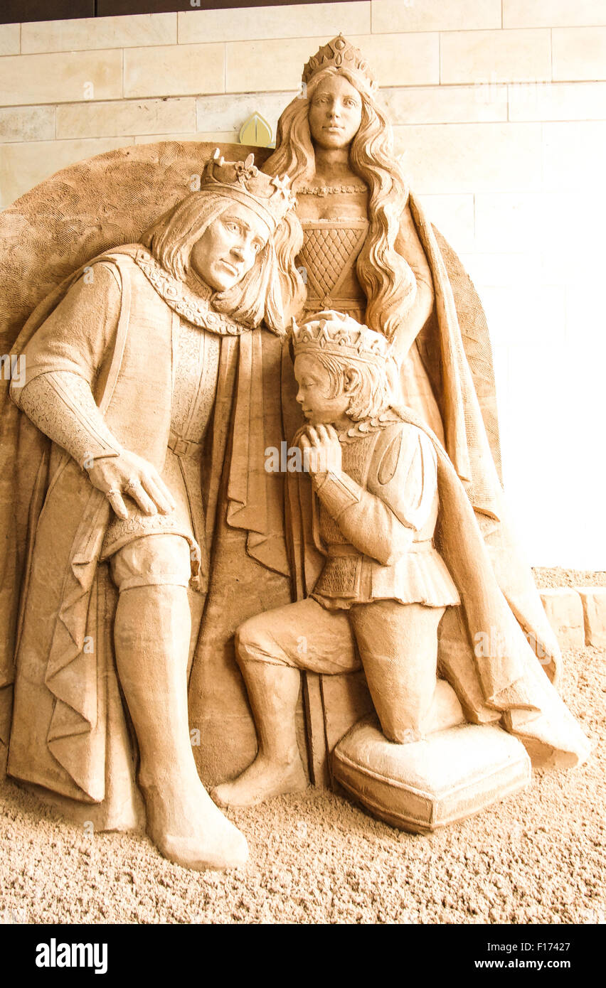 Leicester, England, 28 August 2015. The sand sculpture by Susanne Ruseler(The Netherlands) depicts the investiture - Stock Image