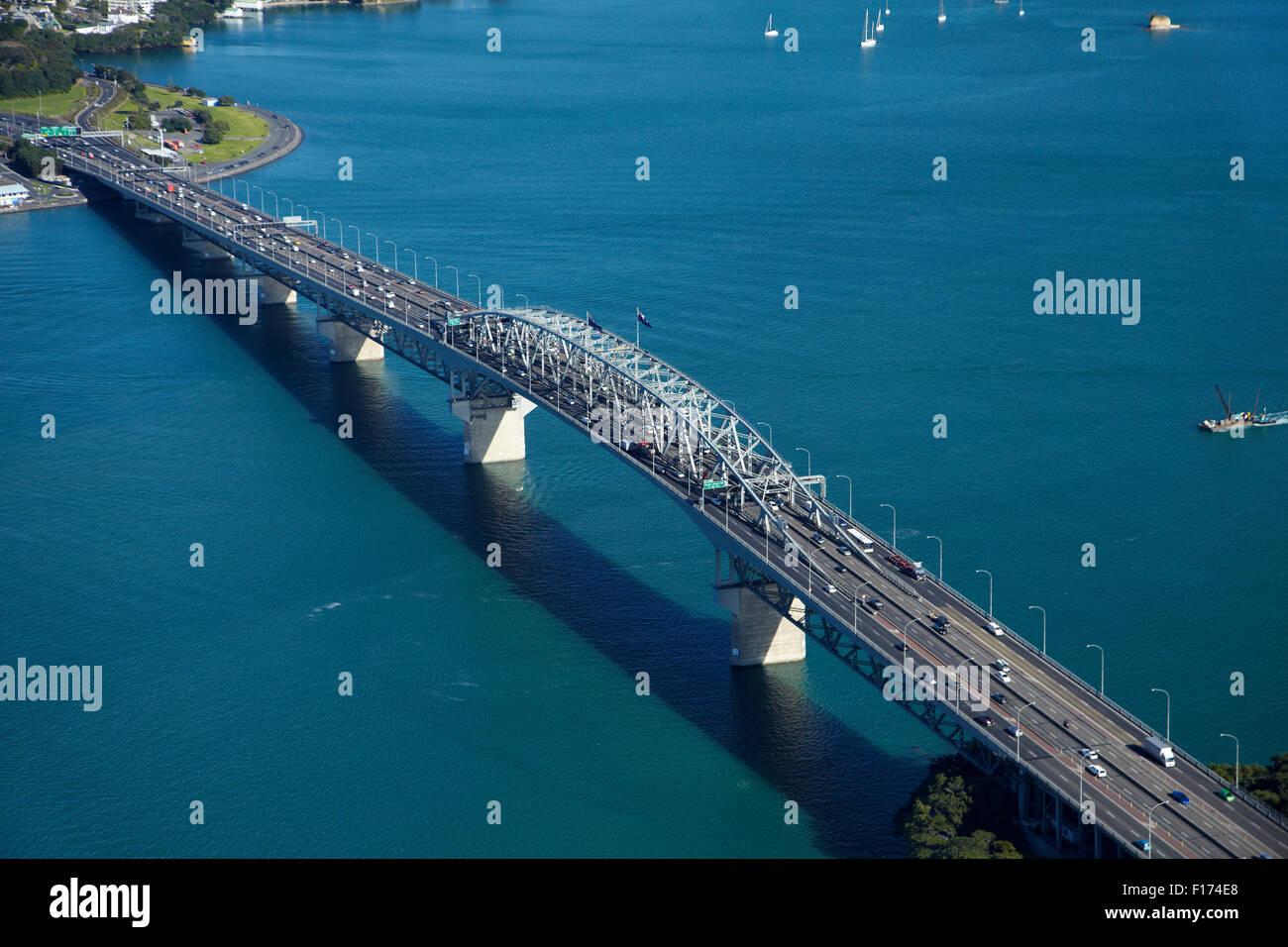 Auckland Harbour Bridge and Waitemata Harbour, Auckland, North Island, New Zealand - aerial - Stock Image