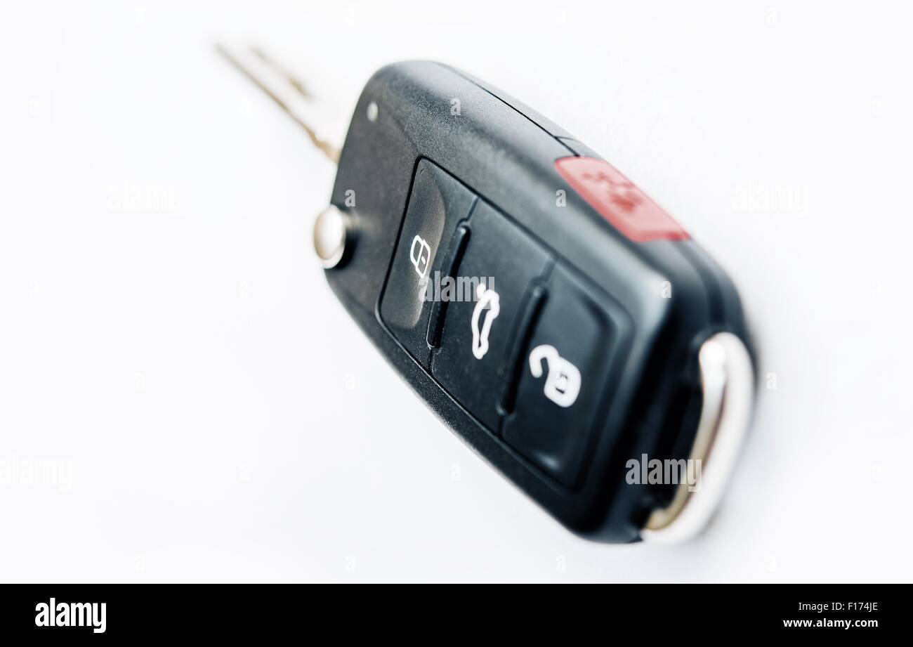 Car Ignition Key with Built-In Remote Locking. Car Keys Isolated on White. - Stock Image