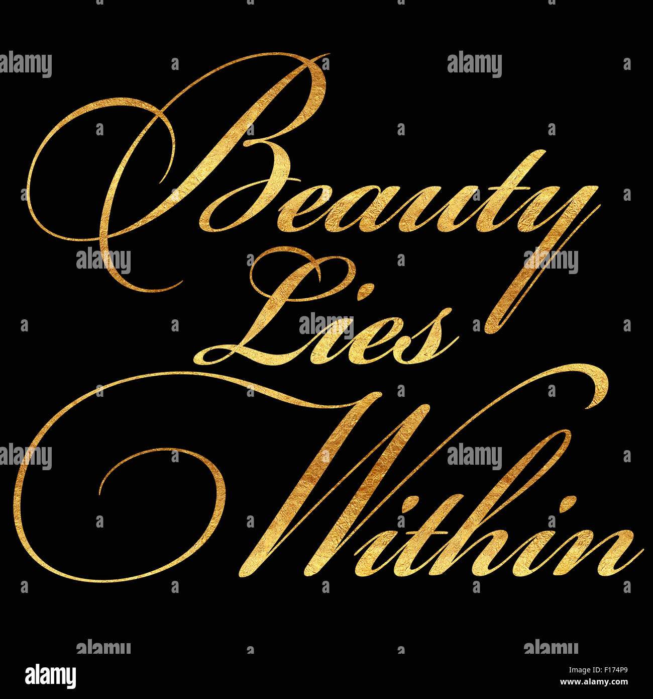 Beauty Lies Within Faux Gold Foil Metallic Shiny Glitter Quote Stock
