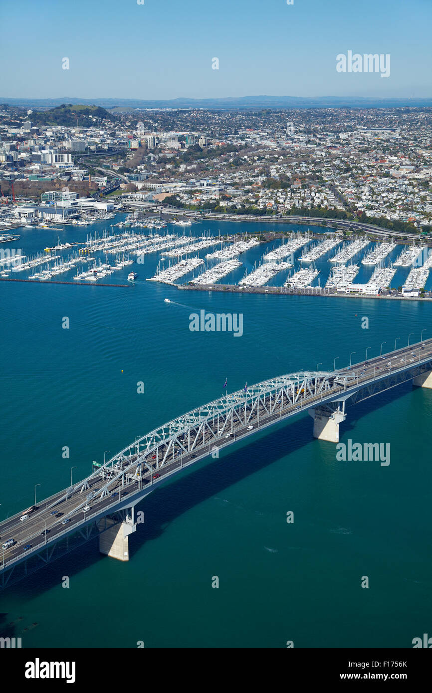 Auckland Harbour Bridge and Westhaven Marina, Auckland, North Island, New Zealand - aerial - Stock Image