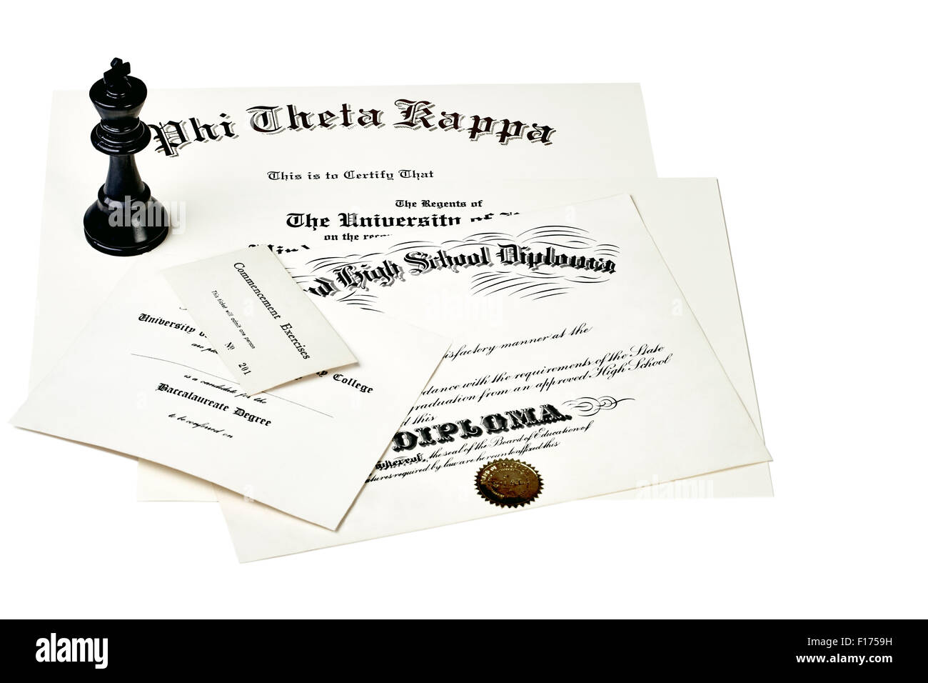 Education certification documents including high school diploma,commencement ticket, fraternity certification and - Stock Image