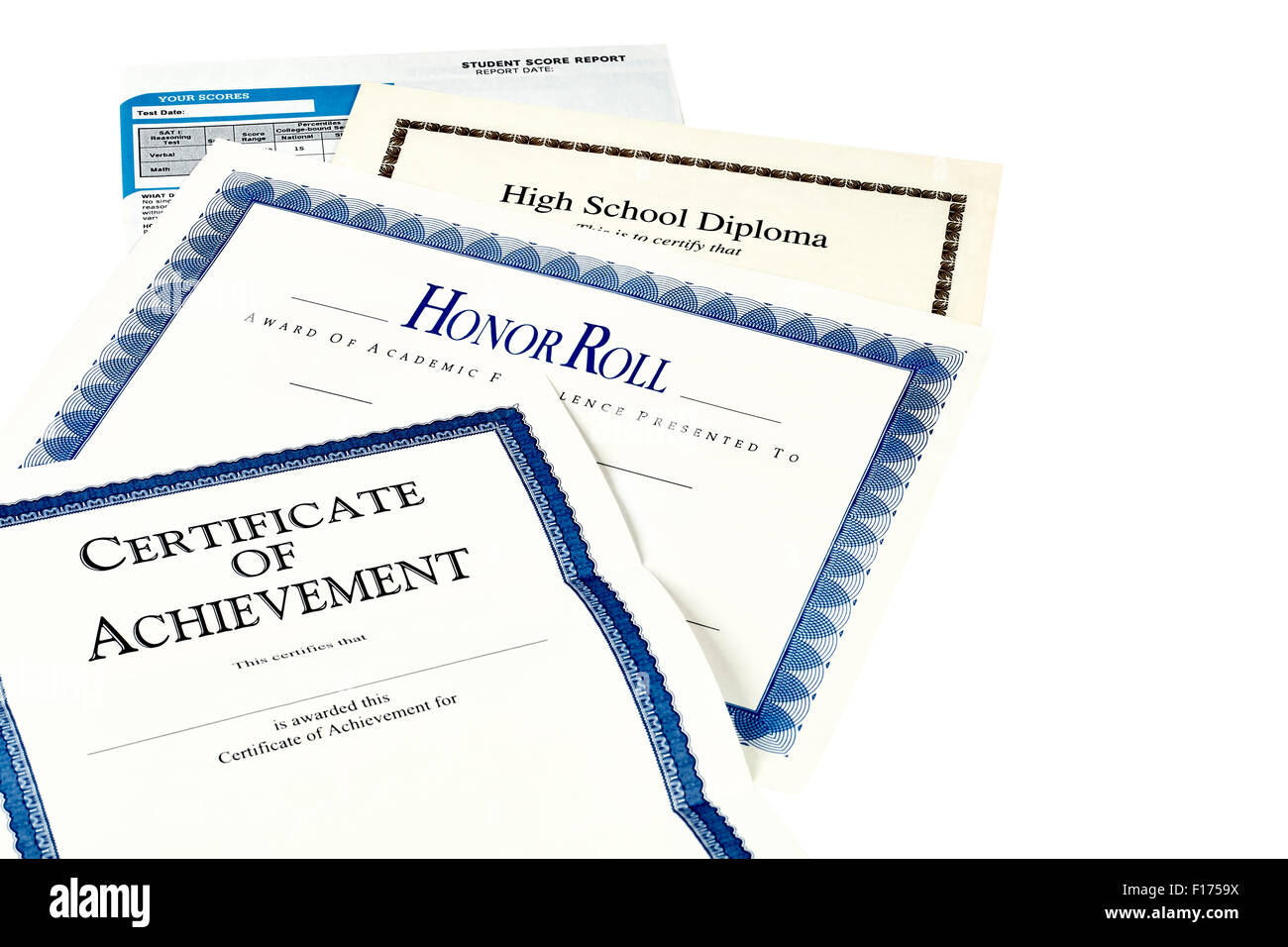 Education documents including SAT report, high school diploma, honor roll recognition, commencemnent program and - Stock Image