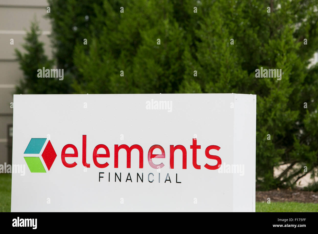 A logo sign outside of a facility occupied by the Elements Financial in Greenfield, Indiana on August 15, 2015. - Stock Image