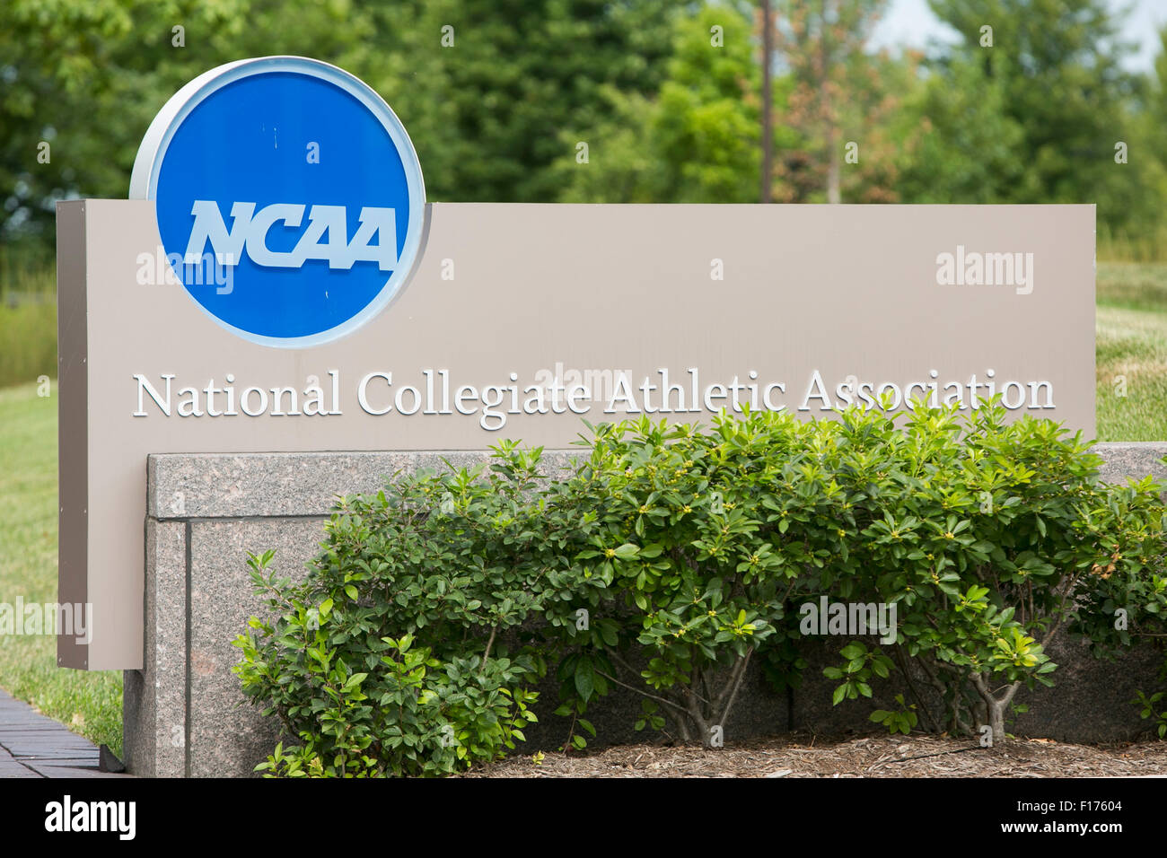 A logo sign outside of the headquarters of the National Collegiate Athletic Association (NCAA) in Indianapolis, Stock Photo