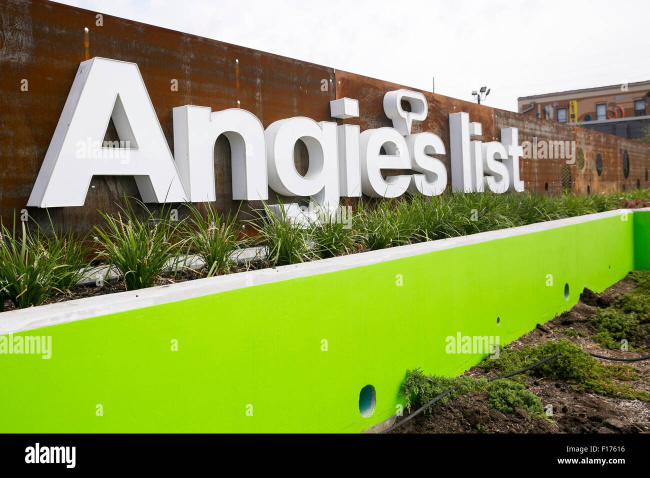 A logo sign outside of the headquarters of Angie's List, Inc., in Indianapolis, Indiana on August 15, 2015. - Stock Image