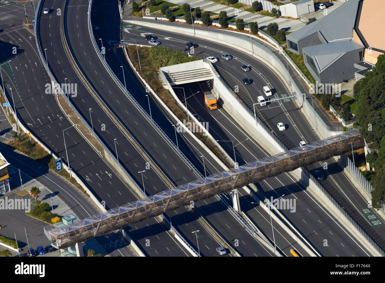 Motorway and Victoria Park Tunnel, Auckland, North Island, New Zealand - aerial - Stock Image