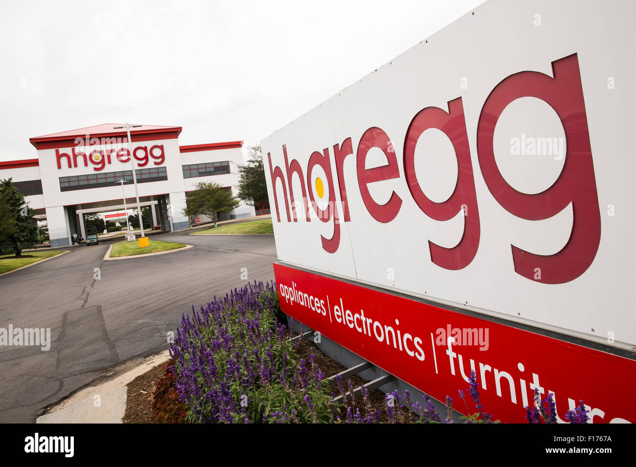 A Logo Sign Outside Of The Headquarters Of Hhgregg Inc In Stock