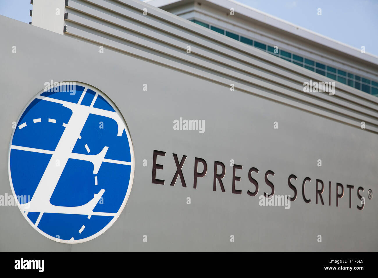 A logo sign outside of the headquarters of Express Scripts, in St. Louis, Missouri on August 16, 2015. - Stock Image
