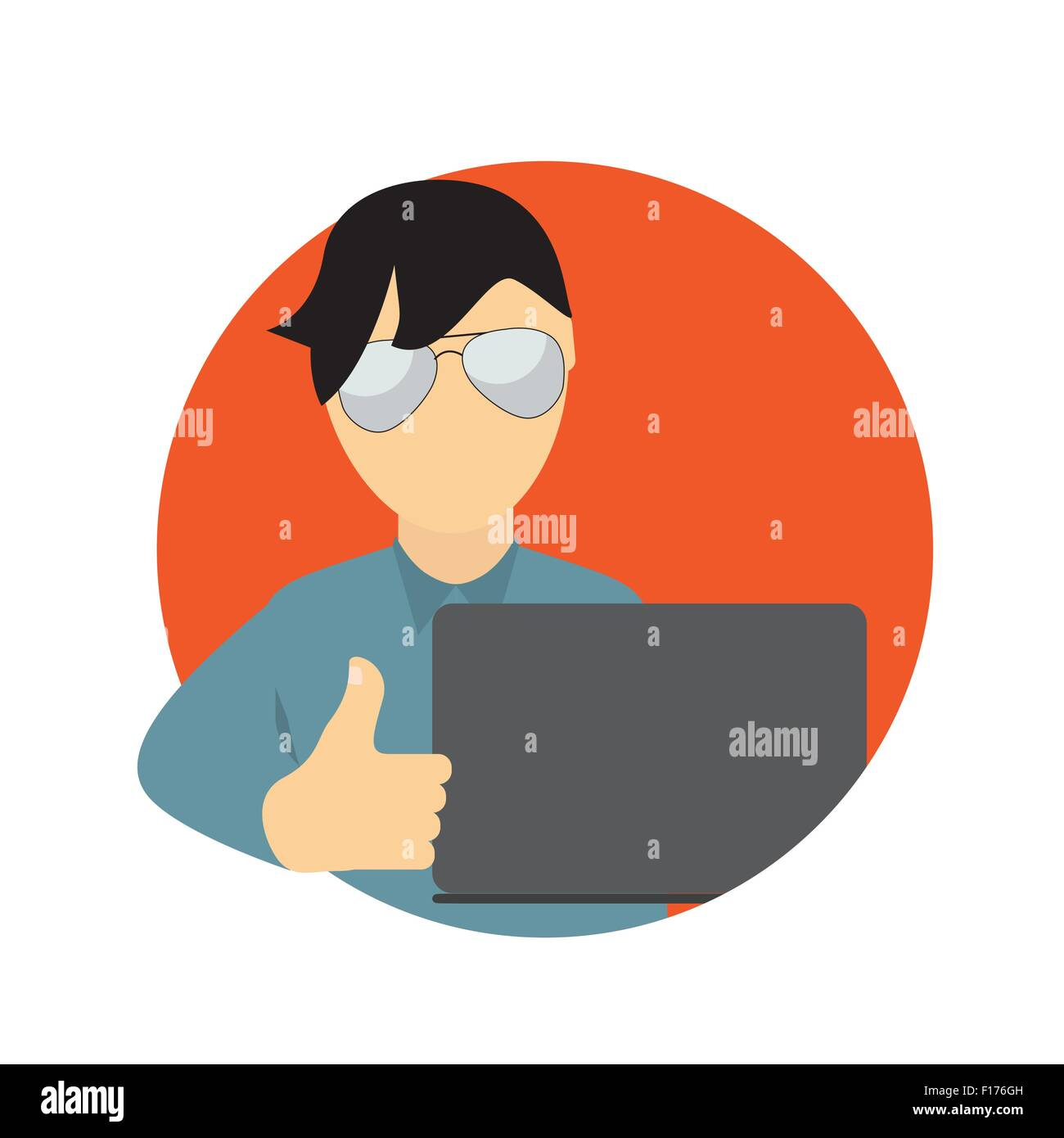 A Business Man wth Laptop Computer in Trendy Flat Style. Communi - Stock Vector