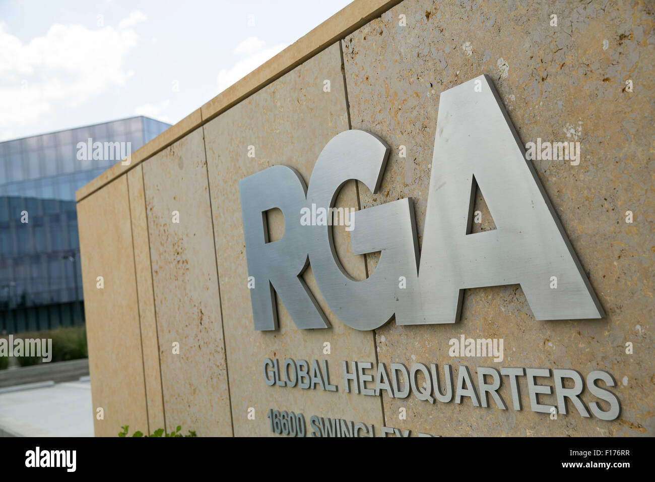 A logo sign outside of the headquarters of Reinsurance Group of America, Inc., (RGA) in Chesterfield, Missouri on - Stock Image