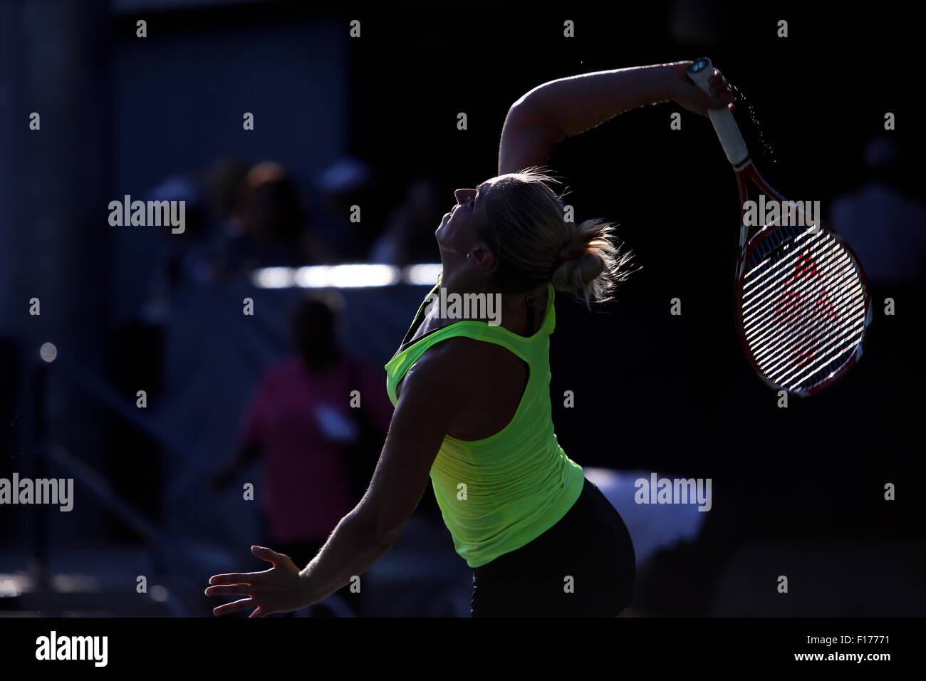 New York, New York, USA. 28th Aug, 2015. Germany's Sabine Lisicki serves during a practice session at the Billie Jean King USTA National Tennis Center in Flushing Meadows, New York late in the afternoon on August 28th, 2016 in preparation for the U.S. Open, which begins on Monday, August 31st. Lisicki is seeded 24th. Credit:  Adam Stoltman/Alamy Live News Stock Photo