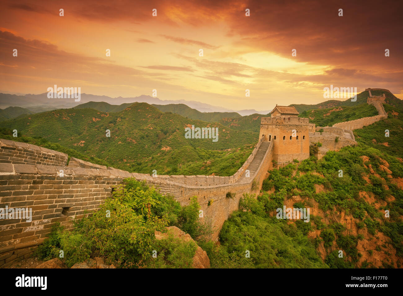Great Wall of China at Sunrise Stock Photo