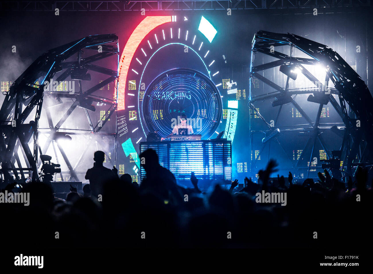 Leeds, UK. 28th August 2015. Deadmou5 headline's the NME stage at  Leeds Festival, Bramham Park 28/08/2015  Credit: Stock Photo