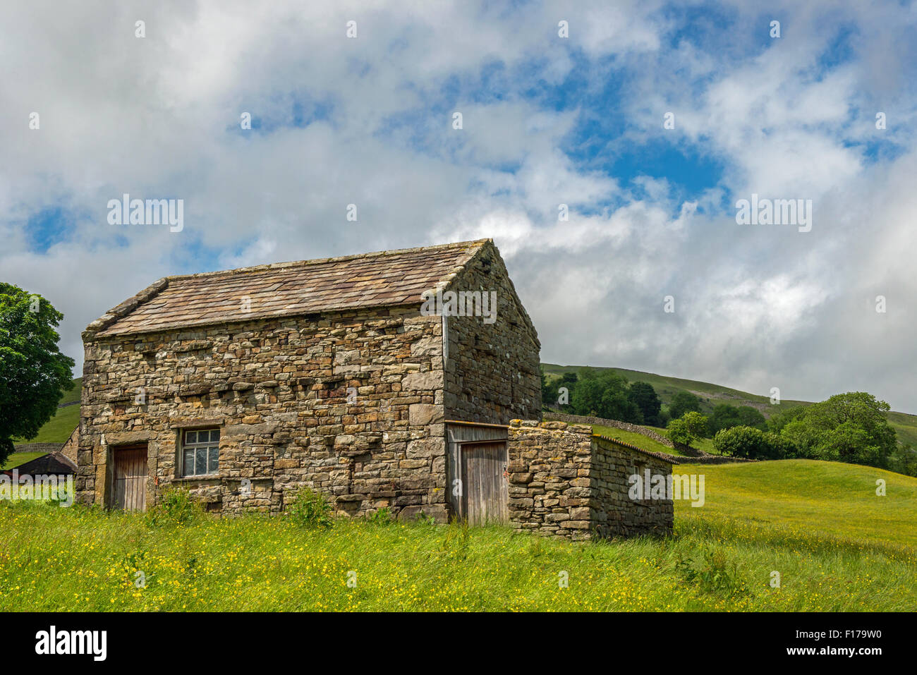 Yorkshire Dales barn at Muker in Swaledale in the summer - Stock Image